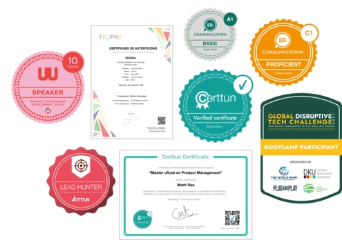 Badges and certificates from the Certtun clients