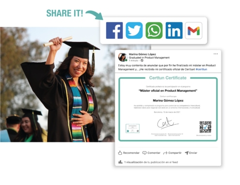 Your students can share in Social Media their certificates